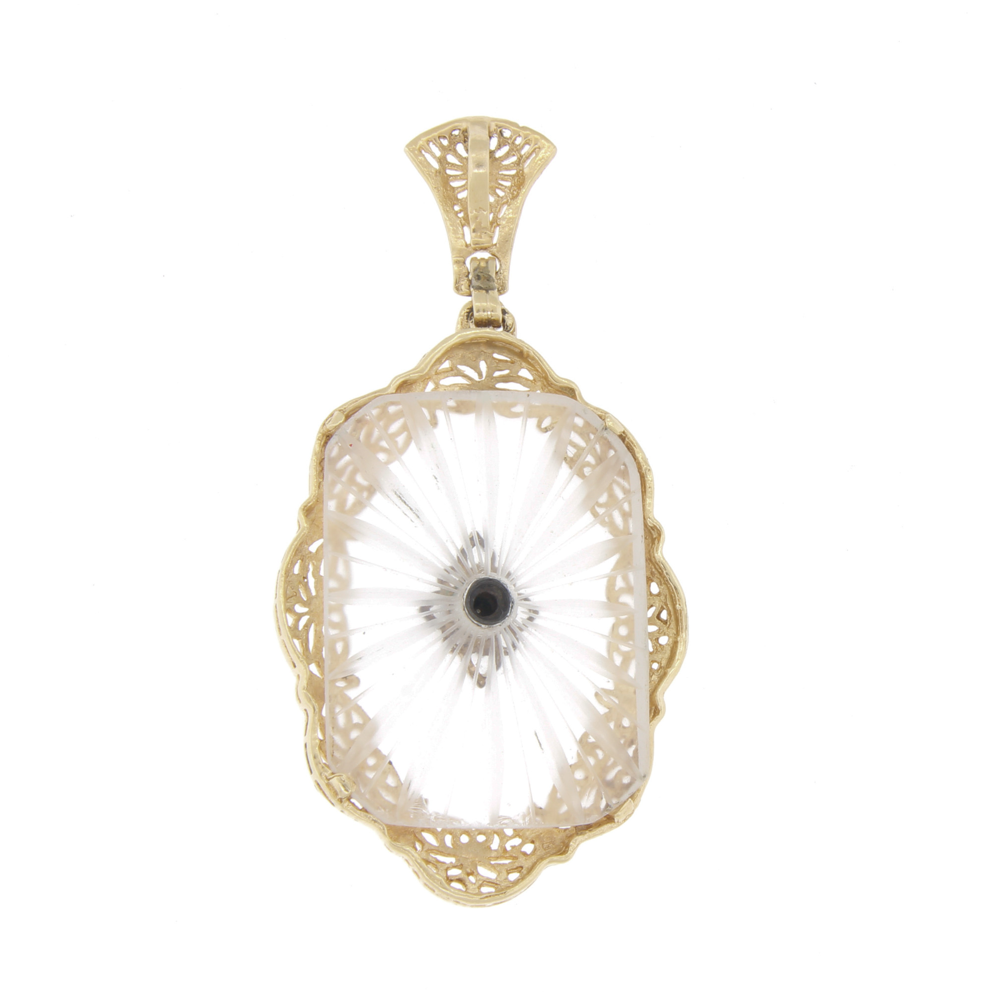 vintage 14k gold diamond camphor glass pendant for