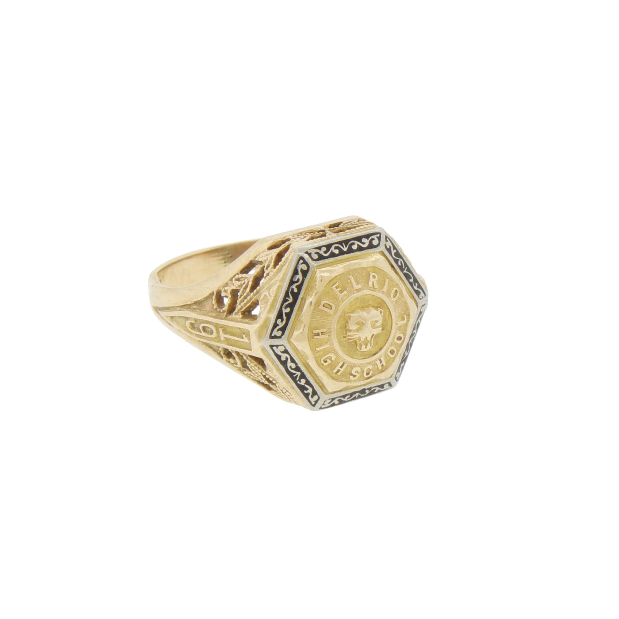 Vintage Art Deco 10k Gold Enamel 1928 Del Rio High School Panther Class Ring